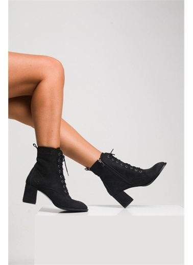 Modabuymus Modabuymus Küt Burun Topuklu  Postal Kadın Bot - Berra Siyah